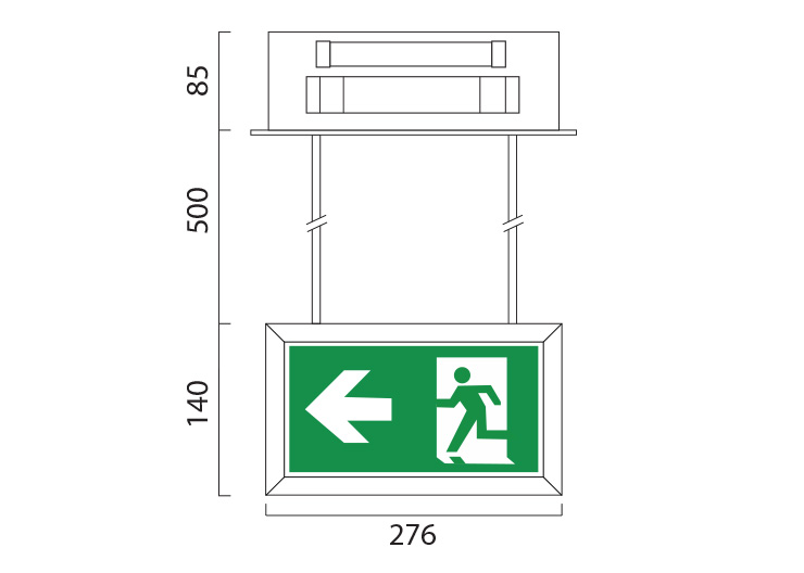 LEDEX Rod Suspension Line Drawing